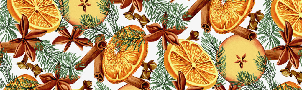 Mulled wine spice repeat pattern illustration