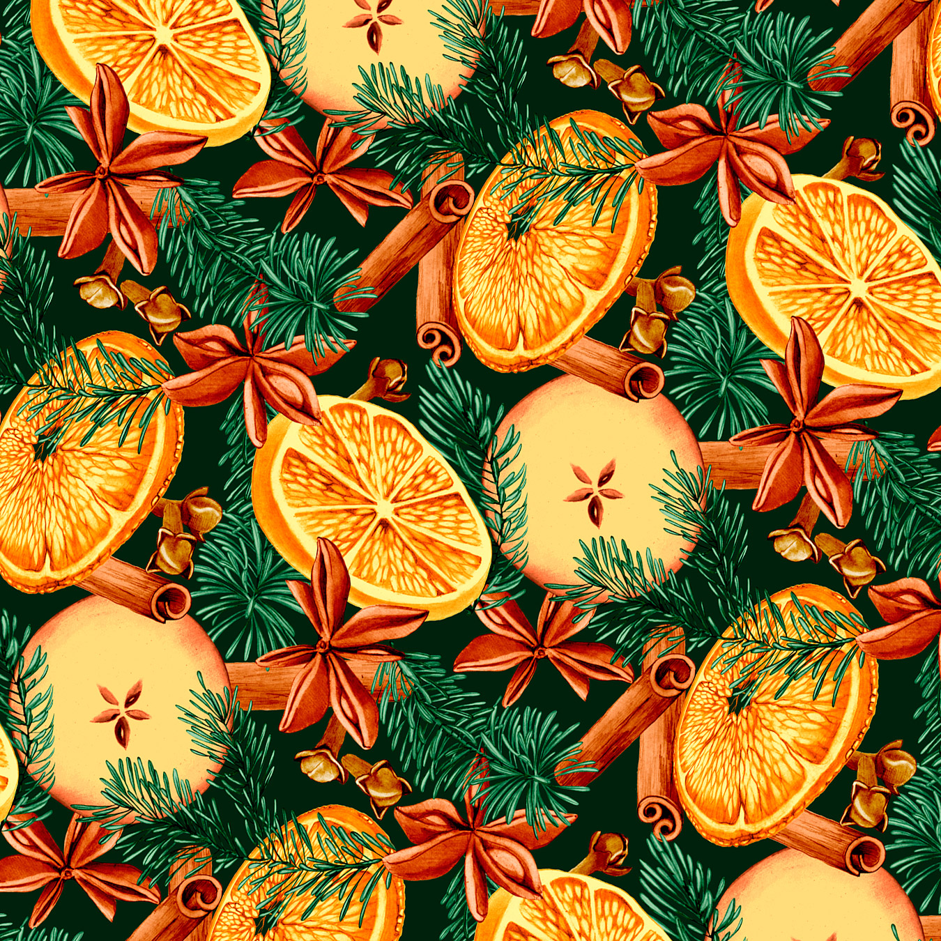 Orange and spice repeat pattern color